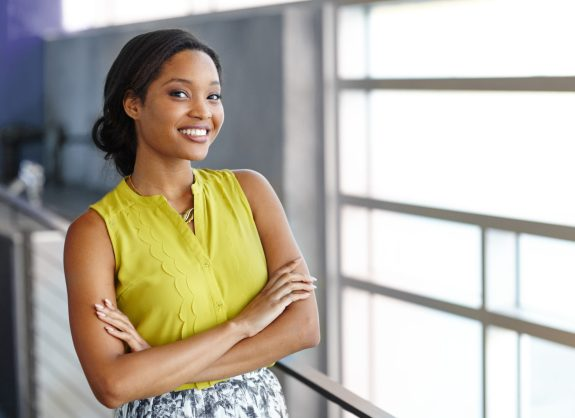 Portrait of a confident black businesswoman at work in her